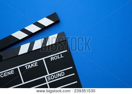 Movie Clapper On Blue Background ; Film, Cinema And Video Photography Concept