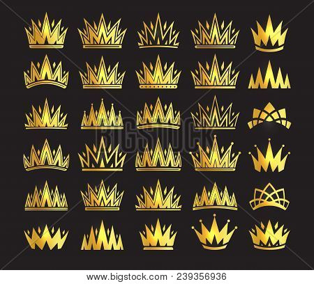 Queen Crown, Royal Gold Headdress. King Golden Accessory. Isolated Vector Set Illustrations. Elite C