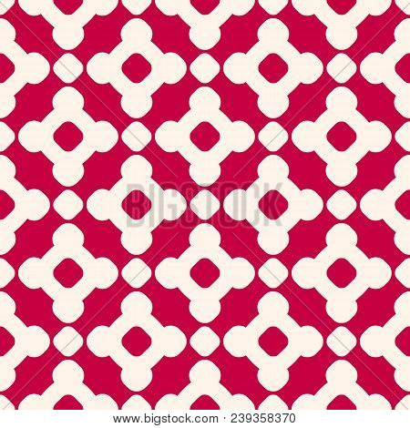 Vector Seamless Pattern In Chinese Style. Red And Beige Geometric Ornament, Abstract Background Text