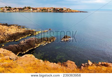 Rocky Cliffs Of Sozopol Over The Black Sea. Beautiful Summer Scenery And Vacation Concept