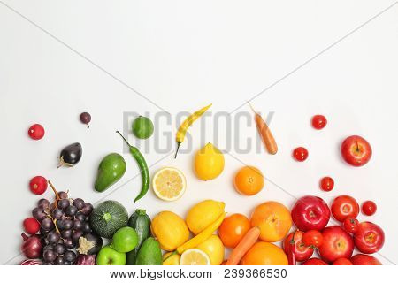 Rainbow Composition With Fresh Vegetables And Fruits On White Background, Flat Lay