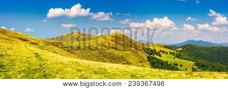 Panorama Of Krasna Mountain Ridge. Beautiful Landscape With Grassy Slopes And Forested Hill Under Th