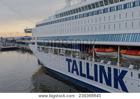 HELSINKI, FINLAND - APRIL 15, 2018: Cruise ship Silja Europa is moored at West Terminal. Built in 1993 with passenger capacity of 3000, the ship operated by Tallink serves the line Helsinki - Tallinn