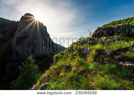 Sunrise In Canyon Of Trascau Mountains. Lovely Scenery Of Carpathian Landscape In Springtime. Beauti