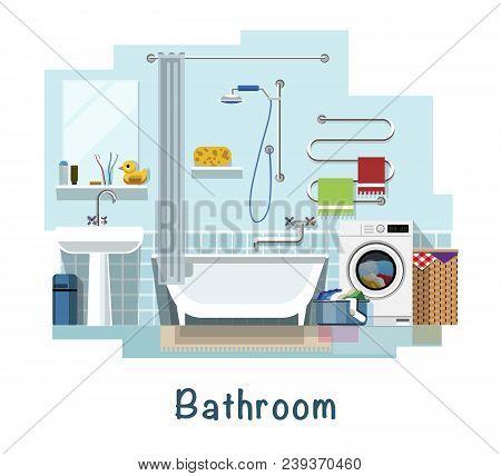 Bathroom. Bathroom Interior. Bath, Washbasin, Faucet, Heated Towel Rail, Mirror, Curtain For The Bat