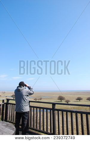 Bird Watcher In A Tower By The Great Grassland At Ottenby On The Swedish Island Oland - A Famous Bir