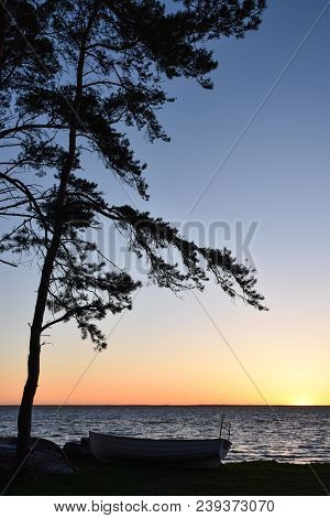Clorful Seaside Sunset At The Swedish Island Oland In The Baltic Sea