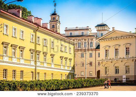 Vilnius, Lithuania - May 1, 2018: Vilnius University. Vilnius University Is The Oldest University In