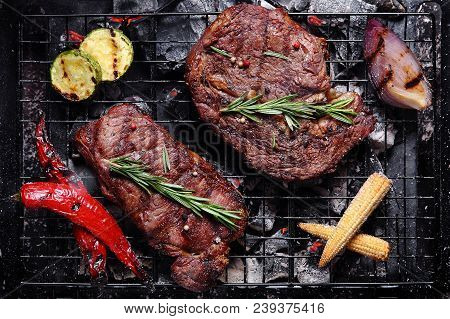 Grilled Beef On The Grill With Vegetables