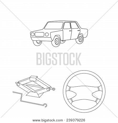Car, Vehicle Outline Icons In Set Collection For Design. Car And Equipment Vector Symbol Stock  Illu