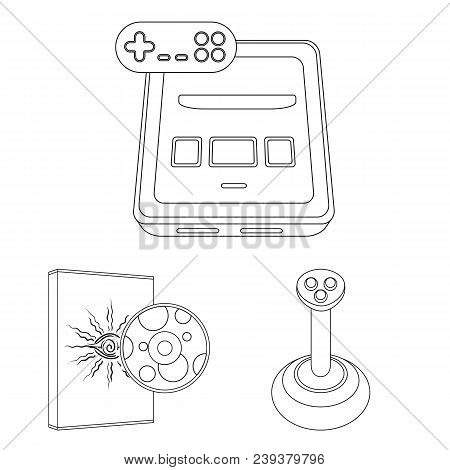 Game Console And Virtual Reality Outline Icons In Set Collection For Design.game Gadgets Vector Symb