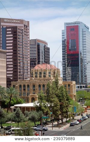 Phoenix, Az, Usa - April 30, 2018:  Historic Building Of Old Phoenix City Hall In Downtown As Seen F