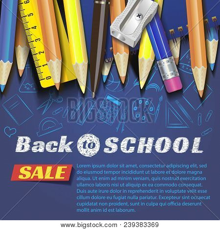 Back To School Design In Red Background With School Items And Objects For Store Discount Promotion.s