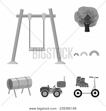 Playground, Entertainment Monochrome Icons In Set Collection For Design. Attraction And Equipment Ve