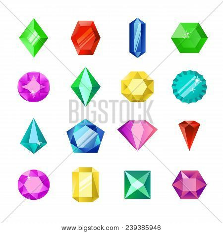 Jewels Or Diamonds Brilliant Vector Set. Cartoon Flat Gems Jewels. Gemstone And Crystal, Precious Gl