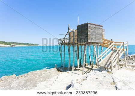 Vieste, Apulia, Italy - Fishing Trabocco At The Rocky Beach Of Vieste