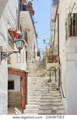 Vieste, Apulia, Italy - May 2017 - Medieval Stairway Through The City Of Vieste