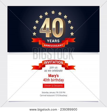 40 Years Anniversary Invitation To Celebration Vector Illustration. Graphic Design Element With Gold