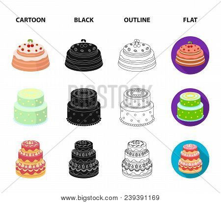 Sweetness, Dessert, Cream, Treacle .cakes Country Set Collection Icons In Cartoon, Black, Outline, F