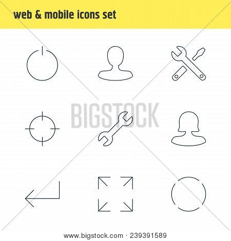 illustration of 9 user icons line style. Editable set of power button, screenshot, reload and other icon elements. poster