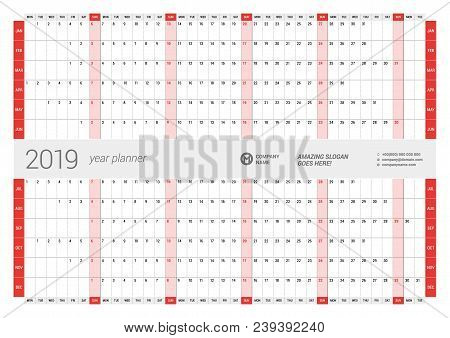 Yearly Wall Calendar Planner Template For 2019 Year. Vector Design Print Template. Week Starts Monda