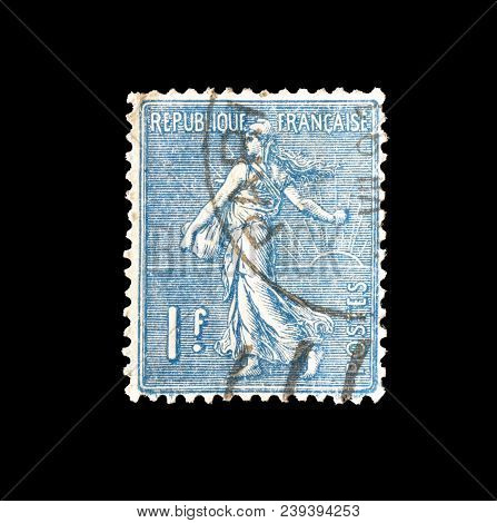 France - Circa 1926 : Cancelled Postage Stamp Printed By France, That Shows Sower.