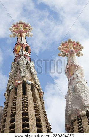 Barcelona, Spain. March 22, 2015: Detail Of The Spires Of Sagrada Familia, Holy Family, In Barcelona