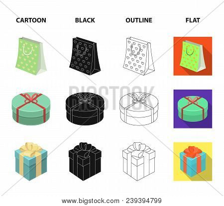 Gift Box With Bow, Gift Bag.gifts And Certificates Set Collection Icons In Cartoon, Black, Outline,