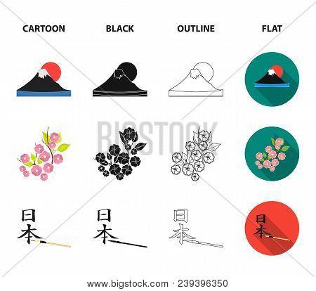 Geta, Sakura Flowers, Bamboo, Hieroglyph.japan Set Collection Icons In Cartoon, Black, Outline, Flat
