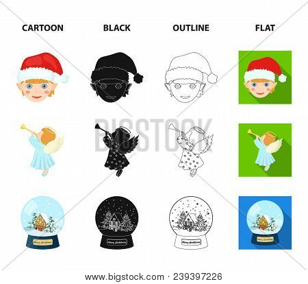 Angel, Glass Bowl, Gingerbread And Bell Cartoon, Black, Outline, Flat Icons In Set Collection For De