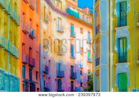 Colorful Illustration Of Architectural Detail In Madrid, Spain