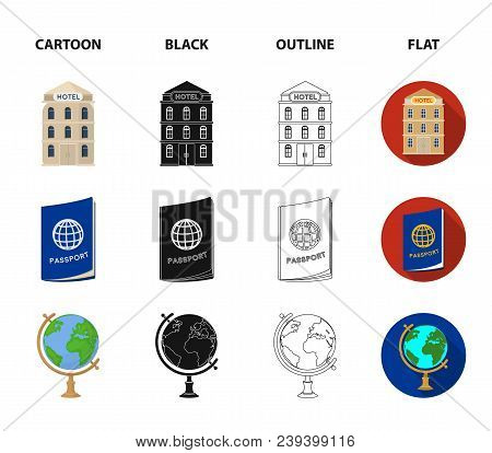 Vacation, Travel, Passport, Globe .rest And Travel Set Collection Icons In Cartoon, Black, Outline,