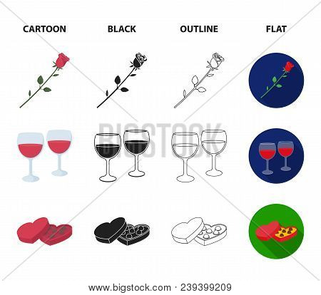 Glasses With Wine, Chocolate Hearts, Bears, Valentine.romantik Set Collection Icons In Cartoon, Blac