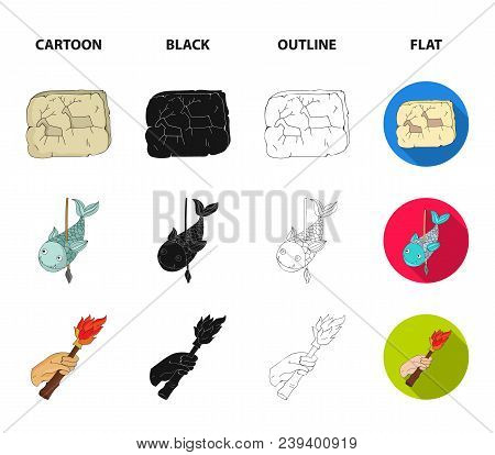 Primitive, Fish, Spear, Torch .stone Age Set Collection Icons In Cartoon, Black, Outline, Flat Style