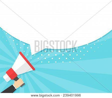 Speech Bubbles Announced By Megaphone, Flat Vector Illustration Background