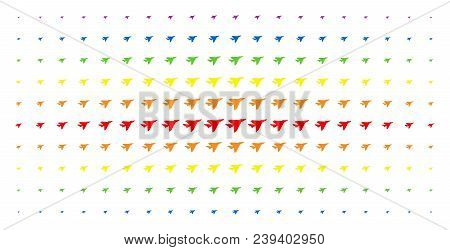 Airplane Intercepter Icon Spectral Halftone Pattern. Vector Airplane Intercepter Items Are Arranged