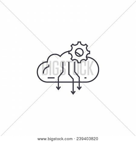 Atmospheric Condensation Process Vector Line Icon, Sign, Illustration On White Background, Editable