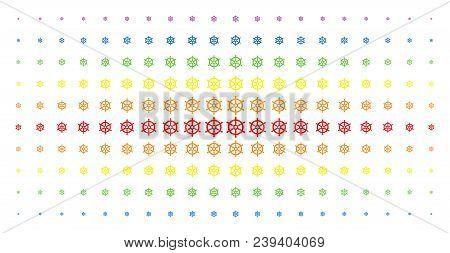 Boat Steering Wheel Icon Rainbow Colored Halftone Pattern. Vector Boat Steering Wheel Items Are Arra