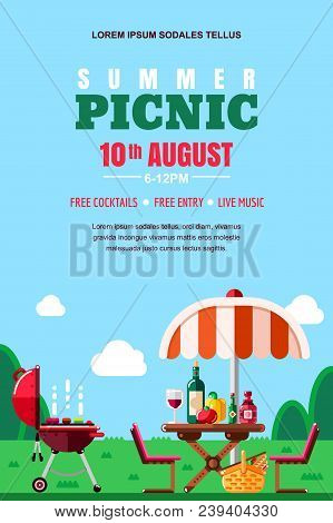 Summer Barbecue Picnic, Vector Poster, Banner Layout. Bbq Grill, Umbrella, Table With Food And Wine