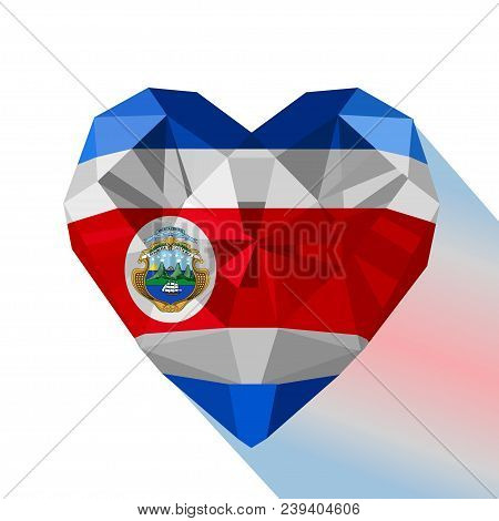 Vector Crystal Gem Jewelry Costa Rican Heart With The Flag Of The Republic Of Costa Rica. Flat Style