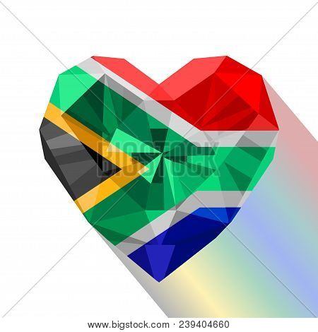 Vector Crystal Gem Jewelry South African Heart With The Flag Of The Republic Of South Africa. Flat S