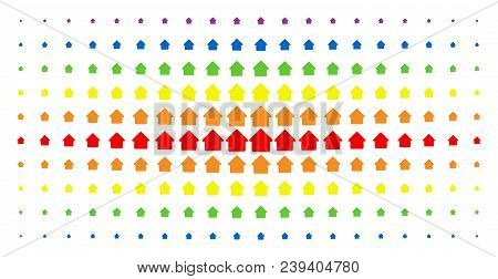 Cabin Icon Rainbow Colored Halftone Pattern. Vector Cabin Symbols Are Organized Into Halftone Array