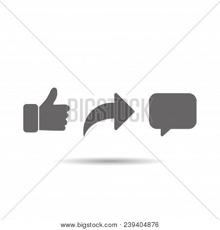 Social Network Signs Abstract Vector Thumb Up Comment Share Icon Set