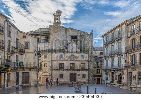 Sepulveda, Segovia, Spain; 03 17 2018: Square And Facade Of The Town Hall Of The Village Of Sepulved