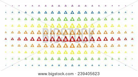 Caution Icon Rainbow Colored Halftone Pattern. Vector Caution Shapes Are Arranged Into Halftone Grid