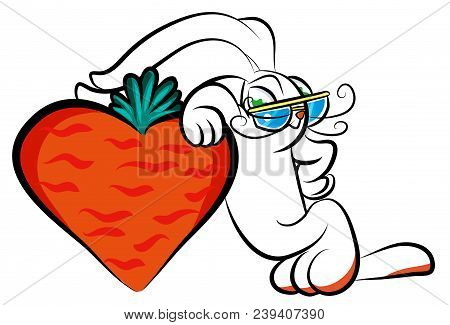 Cute Male Rabbit With Carrot Shaped Heart.  Cute Rabbit With Love. Male Bunny With Carrot.