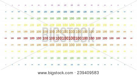 100 Text Icon Rainbow Colored Halftone Pattern. Vector 100 Text Shapes Are Organized Into Halftone A