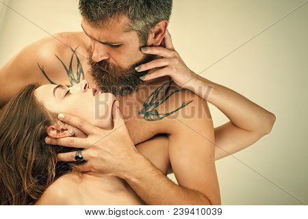 Relations Of Couple Isolated On White. Man And Girl With Naked Body. Boyfriend And Girlfriend, Massa