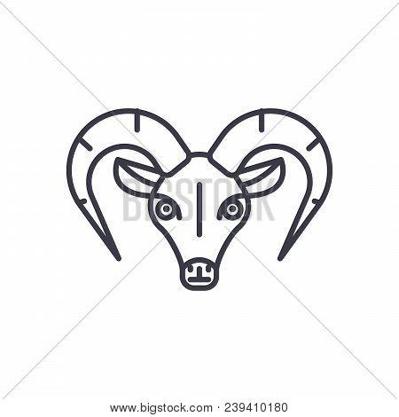 Capricorn Vector Line Icon, Sign, Illustration On White Background, Editable Strokes