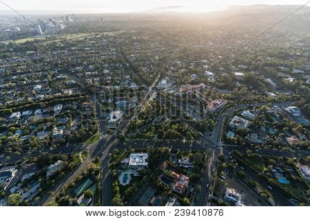 Beverly Hills, California, USA - April 18, 2017:  Afternoon aerial view of intersections near Will Rogers Memorial Park and the Beverly Hills Hotel.